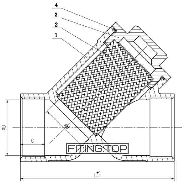 Фильтр нержавеющий AISI304 с внутренней резьбой