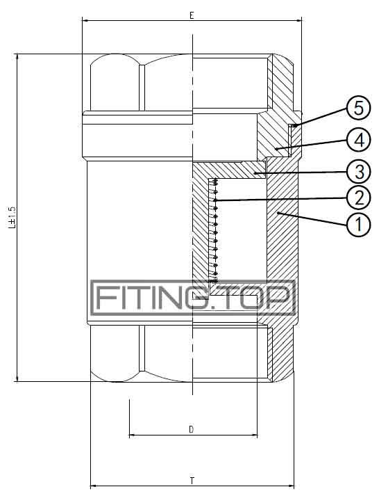 Клапан обратный нержавеющий резьбовой AISI304, Pn 40 размеры