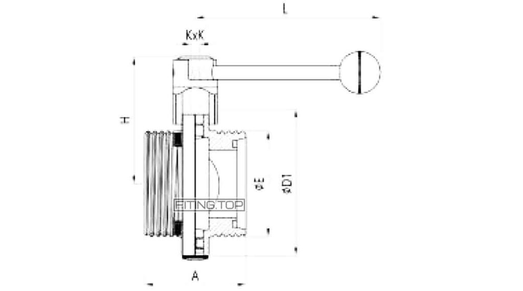 Затвор дисковый нержавеющий резьба-резьба AISI304 DIN 11850