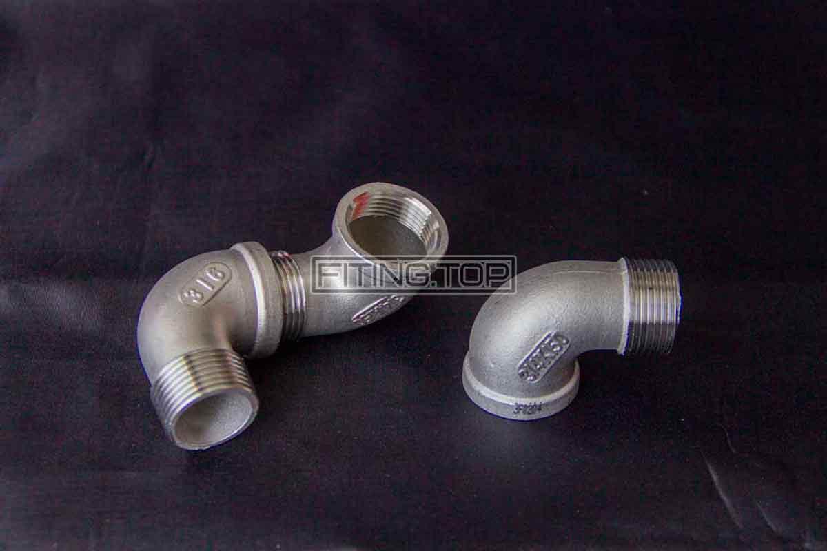 Отвод нержавеющий внутренняя-наружная резьба AISI 316 под 90 градусов