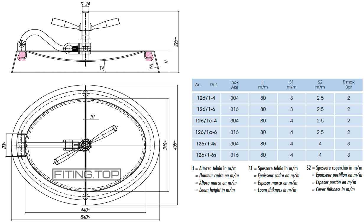 Люк нержавеющий овальный 440х340 мм 80х4 АИСИ304 2 атм (открывается наружу), (АРТ. 126ъ1-4)
