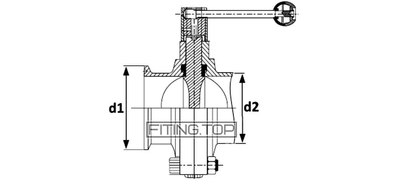 Затвор дисковый Dn 50 нержавеющий кламп-кламп AISI304