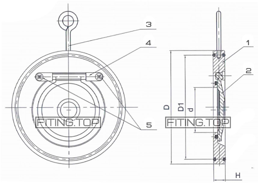 Клапан обратный межфланцевый нержавеющий хлопушка AISI 304 размеры