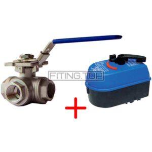 Нержавеющий кран шаровой с электроприводом (3-х ходовой L/Т-порт)
